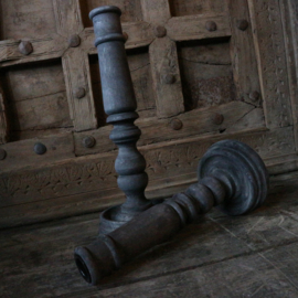 """Houten kandelaar """"Grey"""" (26 cm hoog)"""