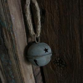 Zinken bel aan jute  (Ø 6 cm)