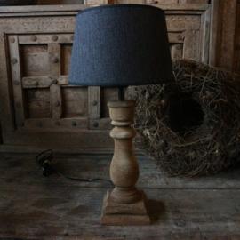 Houten balusterlamp inclusief kap 1 (H51 cm)