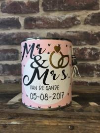 Blik Huwelijk Mr. & Mrs. met naam en datum