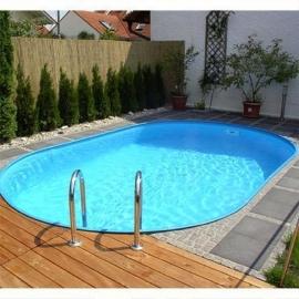ovaal zwembad set (inbouw) maatvoering ovaal, diepte 1,20 m., liner 0,8 mm. adriablauw / zandkleur / grijs