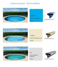 zwembad set Milano (opbouw), diepte 1,20 m., liner 0,8 mm. Adriablauw / zandkleur / grijs