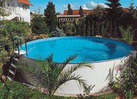 zwembad set Milano (opbouw), diepte 1,35m.  liner 0,8 mm. Adriablauw / zandkleur / grijs