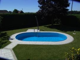 ovaal zwembad set (inbouw) maatvoering ovaal, diepte 1,50 m., liner 0,8 mm. adriablauw / zandkleur / grijs