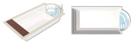 Polyester zwembad Malaga lengte 640/740/710/810/910, breedte 320/370, diepte 1,50m. Compleet Reku Pool pakket, wit / zeeblauw / zandkleur / papyrus