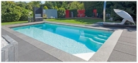 Polyester zwembad Marina 600/750/900, diepte 1,40m. Compleet Reku Pool pakket, wit / zeeblauw / zandkleur / papyrus