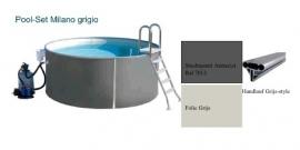zwembad set Milano Grigio (opbouw) diepte 1,20m. staalmantel antraciet, liner 0,8 mm. Grijs