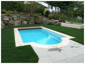 Polyester zwembad Milano lengte 640/740/700/800/900, breedte 320/370, diepte 1,50m. Compleet Reku Pool pakket, wit / zeeblauw / zandkleur / papyrus