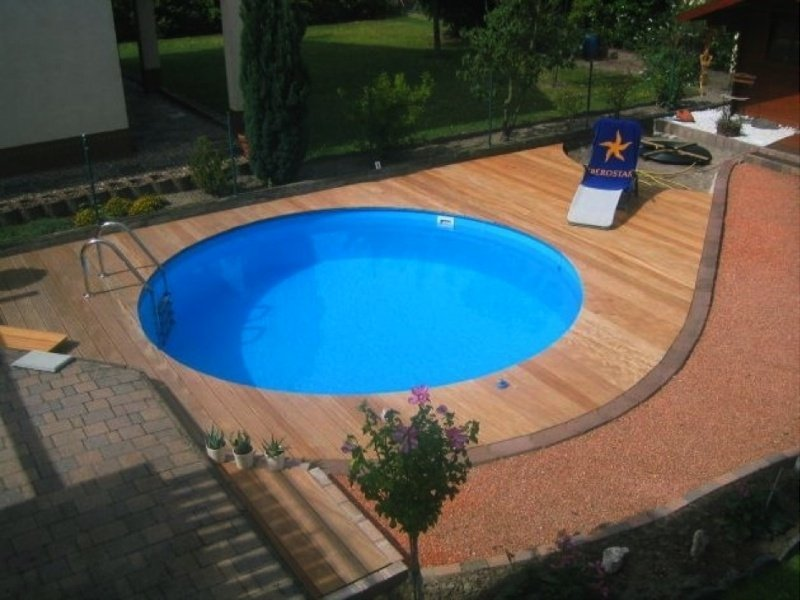 zwembad set Milano (inbouw) diepte 1,20 m., liner 0,8 mm. Adriablauw / zandkleur / grijs