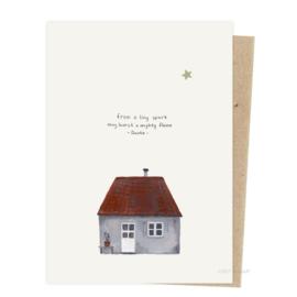 Kerstkaart - Klein huisje