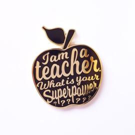 Broche - I Am A Teacher - Zwart