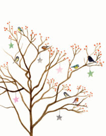 Kerstkaart - Vogelboom