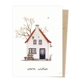 Kerstkaart - Huisje bessenboom