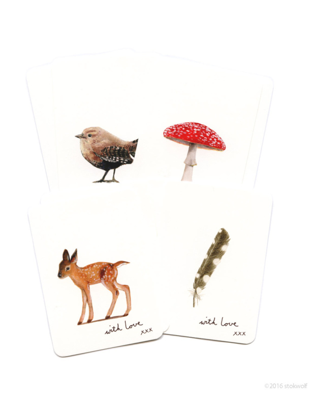 Set Mini kaartjes - Bos