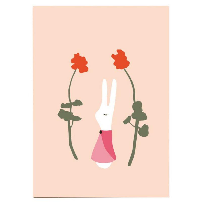 Postkaart - Konijnenmeisje