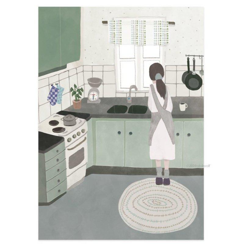 Postkaart - Keuken in Zweden