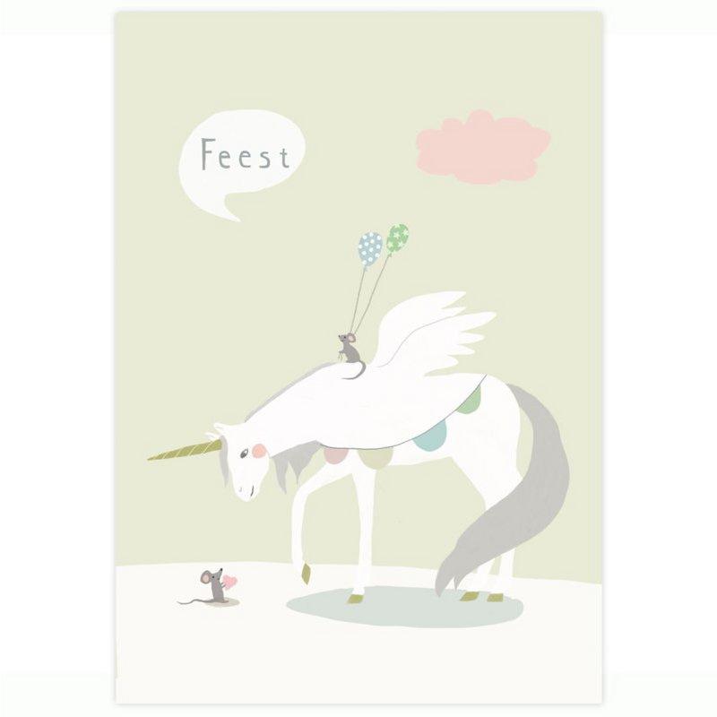 Postkaart - Eenhoorn en Muis