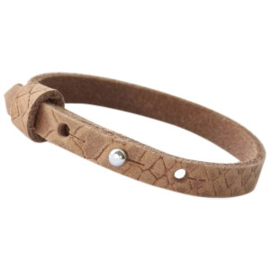Cuoio armband leer Reptile 8 mm Light cognac brown