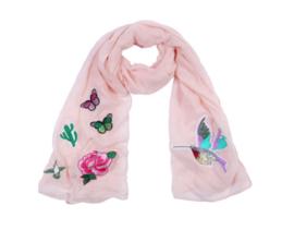 Roze sjaal met  patches