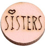 Houten cabochon 12mm sisters Pink