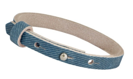 Nubuck Cuoio armband leer 8 mm  Denim Blue