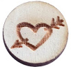 Houten cabochon 12mm heart&arrow Grey