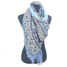 Blauwe vierkante sjaal