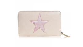 Beige portemonnee met grote roze ster