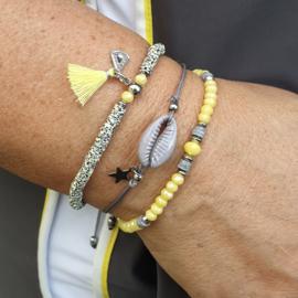 Grijs/Geel armbanden set
