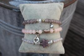 Taupe/Rose armbanden