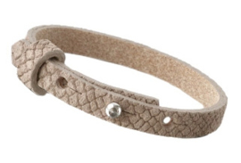 Cuoio armband leer Reptile 8 mm  Natural medium brown