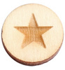 Houten cabochon 12mm star large wood