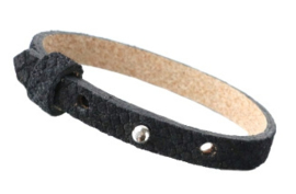 Cuoio armband leer Reptile 8 mm Black