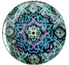 Mandala cabochon 12mm Multicolor violet-blauwgroen