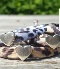 Elastisch lint in dierenprintjes met hart of ster