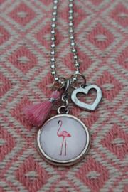 Ballchain ketting met Flamingo hanger