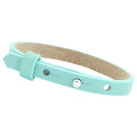 Cuoio armband leer 8mm Aqua mist blue