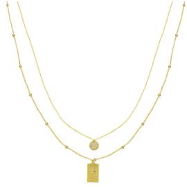 Trendy gold plated ketting met bedels
