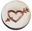 Houten cabochon 12mm heart&arrow Grey