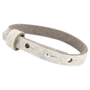 Cuoio armband leer Reptile 8 mm Off white