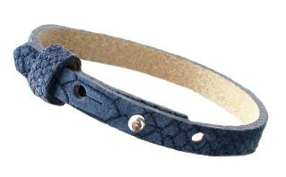 Cuoio armband leer Reptile 8 mm Dark denim blue