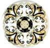 Mandala cabochon 12mm Multicolor beige-wit-zwart