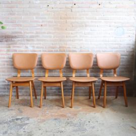 Set 4 vintage stoelen cognac