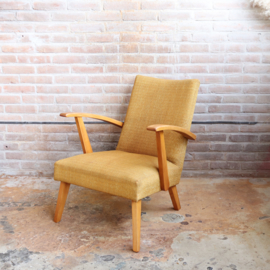 Vintage spijlen fauteuil jaren 60 geel