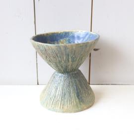 Vintage bloempot blauw keramiek