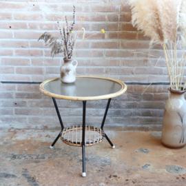 Vintage rotan tafel rond