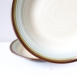 set vintage borden diep grijs blauw