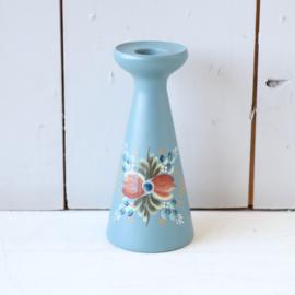Vintage kandelaar hout bloemen