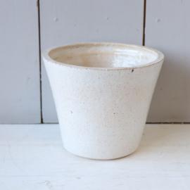 Vintage bloempot wit handgemaakt