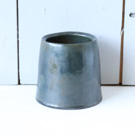 Vintage bloempot donker groen